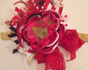 Queen of Hearts Valentine headband, flower headband, cozette couture, baby headband
