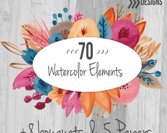 Watercolor Flower Clip Art Commercial Use 70 individual flowers, 8 Floral Bouquet ClipArt and 5 Digital Watercolor Papers