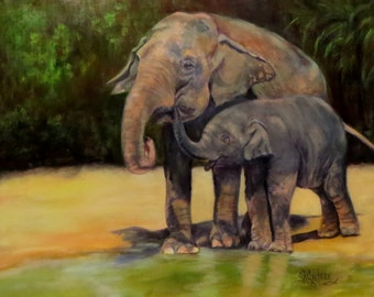 Elephants animal art baby Giclee CANVAS PRINT of original oil painting by Sandra Cutrer Fine Art