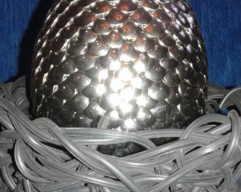 Silver Dragon's Egg with woven black Nest