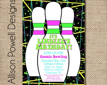 Girls Cosmic Bowling Party Invitation - Custom Printable DIY Invitation