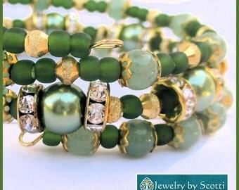 Green Jade Pearl Gold Crystal Bracelet, Jade Green Jewelry, Jade and Pearl Bracelet, Gemstone Jewelry, Gold Crystal Pearl Jewelry, Dressy