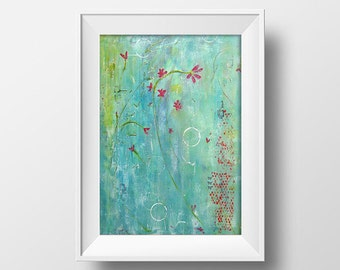 Art print Modern Florals, reds, teal, light airy, spring, zen like