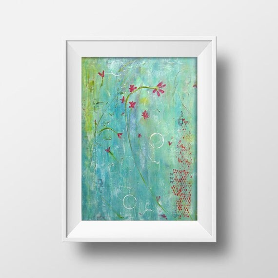 Abstract Floral Acrylic Print Teal and Red flowers