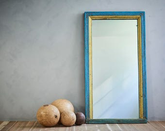 Full Length Mirror Floor Mirror Antique Indian Architectural Blue Yellow Boho Global Indian Moroccan Mirror Mediterranean Interior