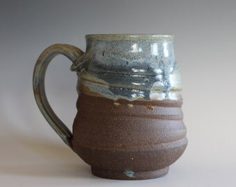 Coffee Mug Pottery, 15 oz, unique coffee mug, handmade cup, handthrown mug, stoneware mug, wheel thrown pottery mug, ceramics and pottery
