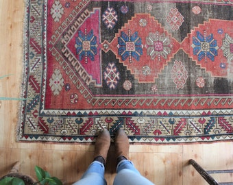 "antique Kazak rug, rustic and worn bohemian rug, early 1900's geometric runner rug 7'4""x3'10"""