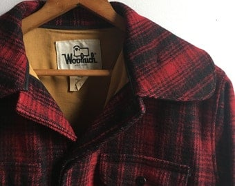 Vintage Woolrich Classic Wool Plaid Hunting Coat Mens Sz. 42