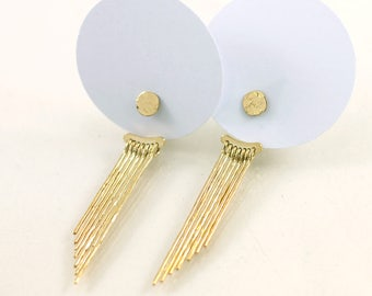 Gold plated earjacket earrings, 7 hammered threads and round pod, handmade in France