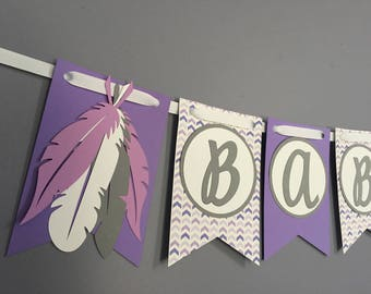 Tribal Baby Shower Banner|Girl or Boy Boho Baby Shower Banner|Arrow Feather Baby Shower Decorations|Aztec Birthday|Purple Grey White