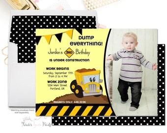 Boys Construction Birthday Invitation - Boys Birthday Invitations - Construction Party Invitations - Construction Invitation - Kids Invites