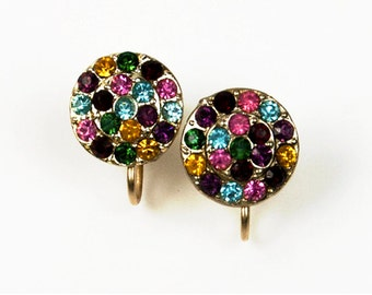 1950s 60s Gold Tone Multi Colored Rhinestones Button Style Vintage Screwback Earrings