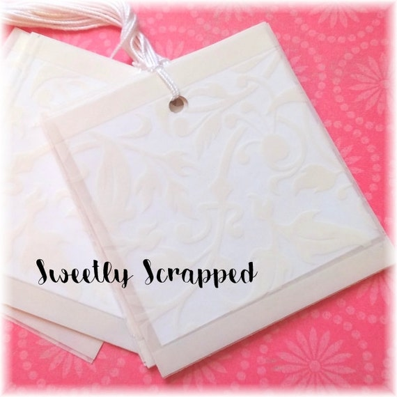 Vellum Overlay Gift Tags .... Booklet Style, Filigree, Elegant, Cream, Blank, DIY, Packaging, Wedding, Tag, Boutique, Scroll, Cream, White