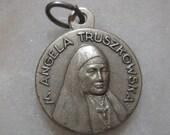 M. Angela Truszkowska, Polish Nun, Silvertone Cloth Relic Medal Pendant, Reliquia, 16mm,1 Pc.
