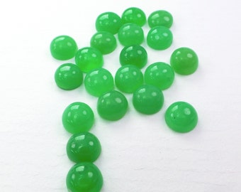 CHRYSOPRASE Round Cabochon. Deep green. Natural. Smooth Cab. 6 pc. 3.6 cts. 4-5 mm  (CH535)