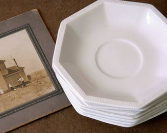 White Ironstone Saucers. Vintage Plate Collection. Johnson Brothers Heritage. Gallery Wall Display Plates. French Country Farmhouse Decor.