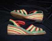TIKI Woven Peeptoe Vintage 1940's WWII Women's Wedge Heel Shoes Sandals 7.5 / 8
