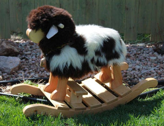 Nursery Toddler Rocking Sheep-  Joseph- A Jacob Sheep for rocking and riding MADE in the USA by Spinderellas Creations