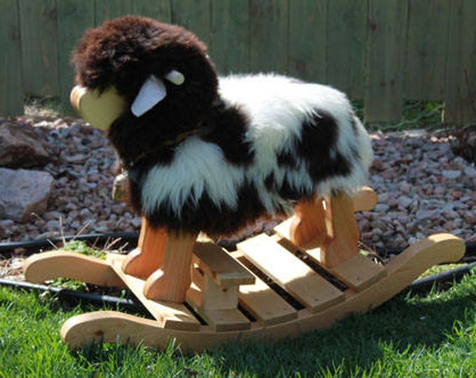 Featured listing image: Nursery Toddler Rocking Sheep-  Joseph- A Jacob Sheep for rocking and riding MADE in the USA by Spinderellas Creations