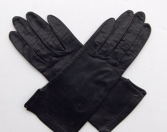 Vintage 60's Women's Gloves Black Leather with Top Stitching Size 6