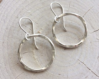Large Silver Circle Earrings Long Hammered Circle Drop Earrings Classic Modern Style