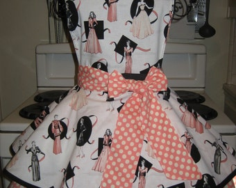 Up Town Ladies, Fashion, Vintage Inspired, Pin Up, Glamor Peach and White Polka Dots Fancy Hostess Apron