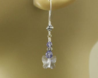 Purple Butterfly Earrings Sterling Silver and Crystal Butterfly Jewelry Sparkling Periwinkle Drop Earrings
