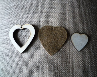 Heart Shaped Wooden Mini Embroidery hoops for Necklaces or Pendants