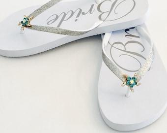 Wedding Flip Flops Bride Flip Flops Wedding Shoes Beach Wedding Sandals Bride Sandals Something Blue Shoes Bride Gifts