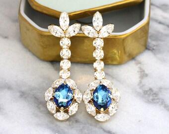 Blue Earrings, Blue Navy Chandelier Earrings, Bridal Blue Earrings, Bridal Chandelier Earrings, Long Swarovski Earrings, Bridal Drops