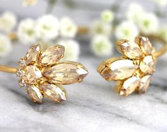 Bridal Bracelet, Bridal Champagne Bracelet, Bridal Crystal Cuff, Swarovski Crystal Bracelet, Bridesmaids Jewelry, Cuff Bracelet,Gift For Her