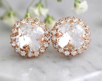 Bridal Earrings, Bridal Crystal White Clear Earrings, Swarovski Bridal Crystal Stud Earrings, Bridesmaids Earrings, Gift For Her