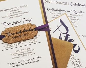 Winery Wedding Invitation with Wine Cork Tag -  SAMPLE