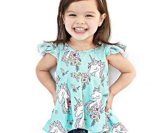 Baby toddler girl hi-lo aqua unicorn ruffle top