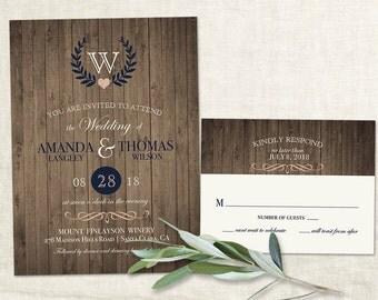 Rustic Wedding Invitation Vineyard Wine Country Wedding Invitations Barn Wood Laurel Wreath Laurel Navy Blue Rose Gold Printable Template