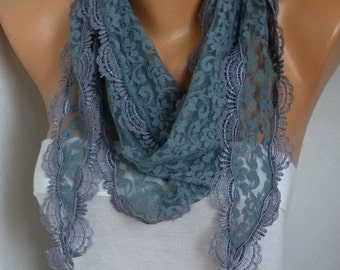 Gray Lace Scarf, Shawl Cowl Scarf Bridesmaid Gift Gift Ideas For Her Women's Fashion Accessories