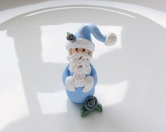 Santa Claus Christmas miniature ornament in pale blue handmade from polymer clay