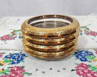 Vintage Coasters, Gold Rimmed ,Glass Coaster, Set of 4,Raised Design,Floral