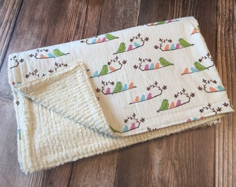 SALE! Ready to Ship! Spring Bird Baby Blanket, Baby Toddler Blanket, Baby Girl Blanket, Baby Stroller Blanket, Chenille Baby Blanket,