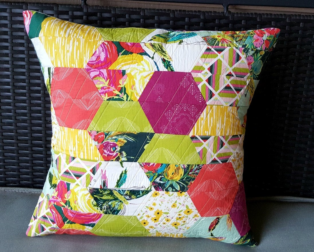 Modern Quilted Pillow : Quilted Modern Large Hexi Pillow Cover