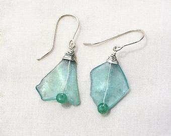 Aquamarine Roman Glass Earrings Silver Earring Silver Jewelry Roman Glass Jewelry Roman Glass Shard Earrings  Made in Israel Free Shipping