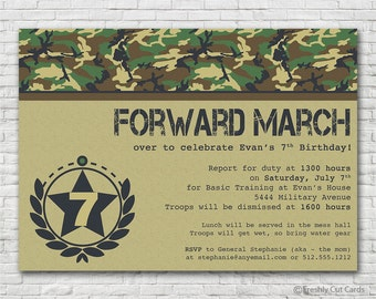 Forward March or Sound Off Military Birthday Party - Printable or Printed (w/ FREE Envelopes)