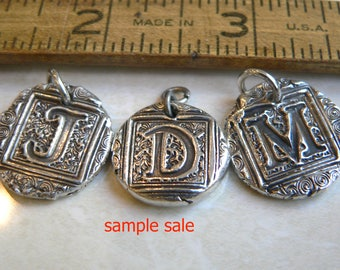 Wax Seal Jewelry SAMPLE SALE -- Extra large Sterling Initials -Wax Seal Charm,  Your Daily Jewels
