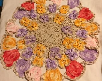 An intricately worked vintage set of four crocheted doilies.