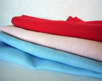 Assorted linen fabric remnants Sale! Thick rustic homespun-like linen flax out cuts for DIY decor; Lovely color pure linen fabric mix