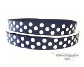 10 Yds WHOLESALE 7/8 Inch Navy Jumbo Polka Dots grosgrain ribbon LOW SHIPPING Cost