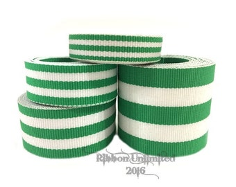 10 Yds WHOLESALE Green TAFFY Stripes grosgrain ribbon LOW Shipping Cost