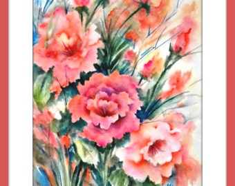 Peach Flowers, Watercolor Peach, Spring Painting, Floral Decor, Peach, Green, Martha Kisling, Art With Heart