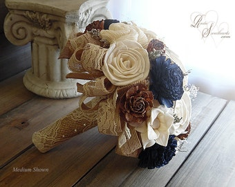 Ships in 4 weeks ~~~ Rustic Navy Blue with Brown Cedar Roses Wedding Bouquet, Sola Flowers, Burlap, Lace. Available in sm., medium or large.