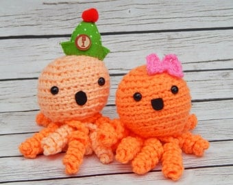 Amigurumi Octopus Orange Couple Little Swimmers